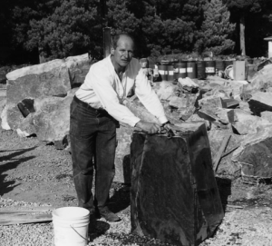 To the ends of the Earth: Osbourne in Canada sourcing the 980 kg block of jade that would become Wilde's smoking jacket. Photo from Stillman 1999.